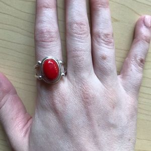 Sterling silver red stone ring